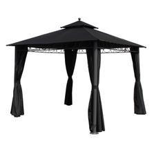 St. Kitts 10-foot Aluminum/ Polyester Double-vented and Drapes Square Gazebo - Dark Grey/Black