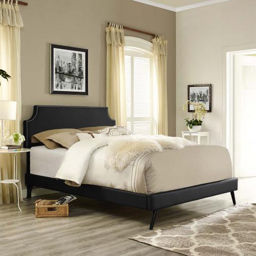Corene Queen Vinyl Platform Bed with Round Splayed Legs in Black