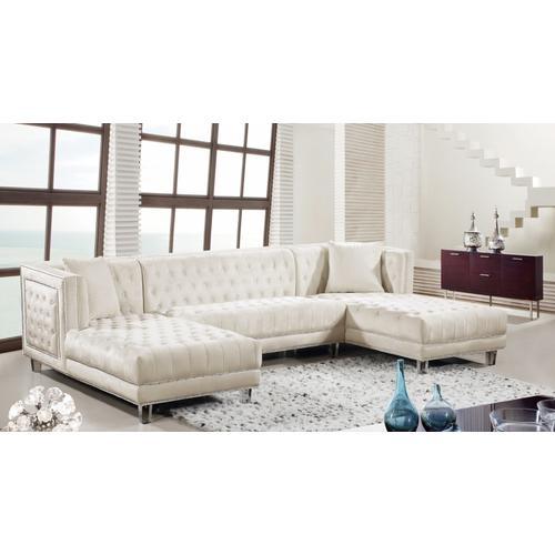 """Meridian Furniture - Moda Velvet 3pc. Sectional - 127"""" W x 68.5"""" D x 31.5"""" H"""