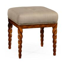 Walnut finish upholstered stool with barleytwist legs