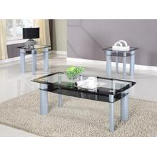 3PC BLACK EDGE GLASS TOP TABLE BASE