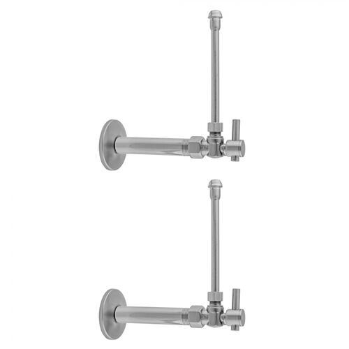 """Product Image - Polished Nickel - Quarter Turn Angle Pattern 1/2"""" IPS x 3/8"""" O.D. Faucet Supply Kit with Contempo Lever Handle, 20"""" Supply Tubes, Escutcheons"""