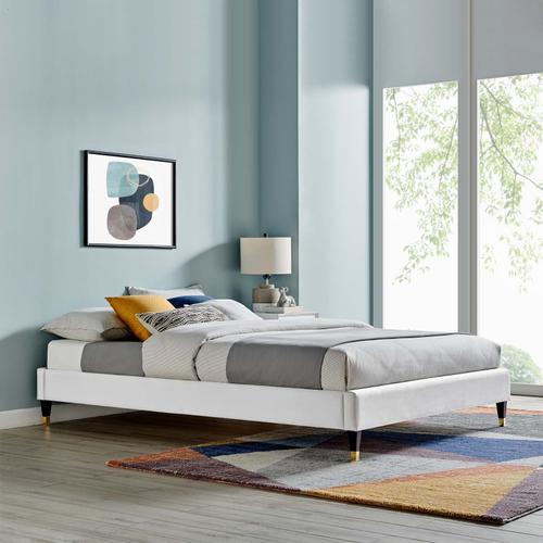 Harlow Full Performance Velvet Platform Bed Frame in Light Gray