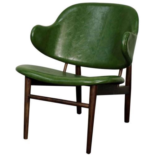 Doyle PU Chair Dark Walnut Legs, Distressed Green