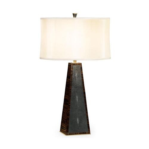 Faux macassar ebony & anthracite shagreen table lamp