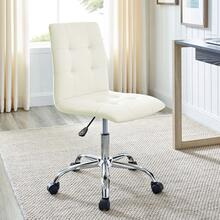 Ripple Armless Mid Back Vinyl Office Chair in White