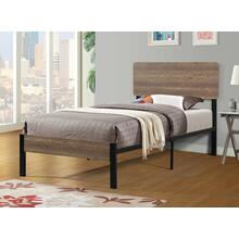 7532 Wooden Headboard Metal Platform Bed - TWIN
