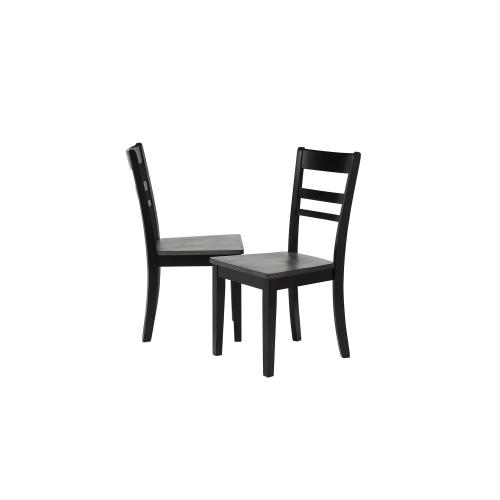 Slat Back Dining Chair - Black and Gray Wood - Tempo Brook