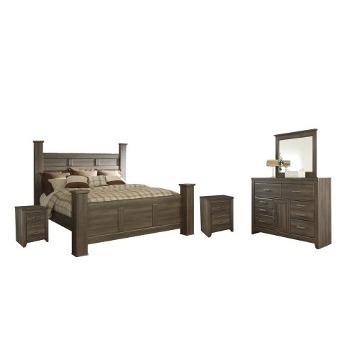 Product Image - California King Poster Bed With Mirrored Dresser and 2 Nightstands