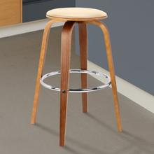 """Armen Living Harbor 26"""" Mid-Century Swivel Counter Height Backless Barstool in Cream Faux Leather with Walnut Veneer"""