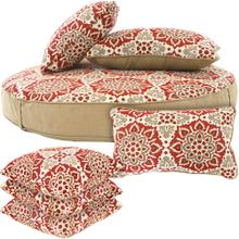 Hanover Hanover Medalion Cushion Set 1 Ottoman, 2 Lumbar and 4 Toss Pillows in Berry, MEDCUSH4PC-BRY