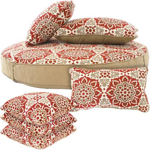 Hanover Hanover Medalion Cushion Set 1 Ottoman, 2 Lumbar and 4 Toss Pillows in Berry, MEDCUSH4PC-BRY