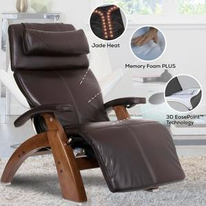 Perfect Chair ® PC-LiVE™ PC-600 Omni-Motion Silhouette - Gray Premium Leather - Dark Walnut