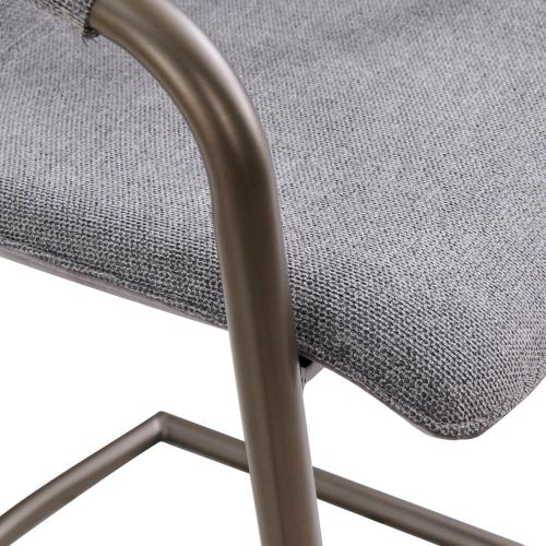New Pacific Direct - Indy Fabric Counter Stool w/ Arms Silver Frame, Sage Gray/Velvet Gray
