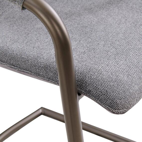 Indy Fabric Counter Stool w/ Arms Silver Frame, Sage Gray/Velvet Gray