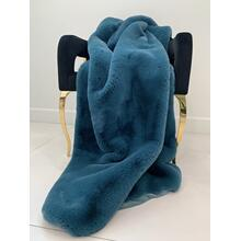 "See Details - Chinchilla Feel Faux Fur Throw - 50"" x 60"" / Teal Blue"
