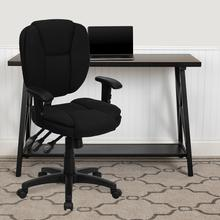 View Product - Mid-Back Black Fabric Multifunction Swivel Ergonomic Task Office Chair with Pillow Top Cushioning and Arms
