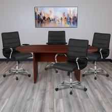 5 Piece Mahogany Oval Conference Table Set with 4 Black and Chrome LeatherSoft Executive Chairs