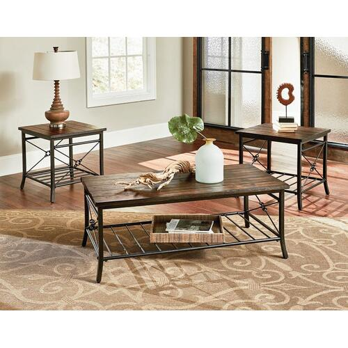 Ainsley 3-Pack Accent Tables, Rustic Brown