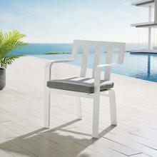 Baxley Stackable Outdoor Patio Aluminum Dining Armchair in White Gray