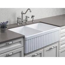 "Biscuit 32"" Fluted Double Bowl Fireclay Farmhouse Kitchen Sink"