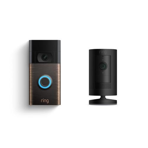 Ring - Video Doorbell + Stick Up Cam Battery - Bronze + Black: Video Doorbell (2020 Release) ships in 4-6 weeks. Stick Up Cam ships in 2-3 weeks