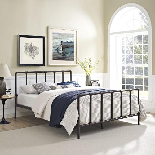 Modway - Dower Queen Stainless Steel Bed in Brown