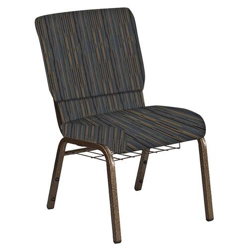 Flash Furniture - 18.5''W Church Chair in Canyon Sky Fabric with Book Rack - Gold Vein Frame
