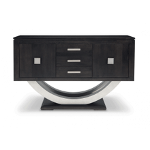 Contempo Pedestal Sideboard w/Metal Curves and 3 Drawers, 2 Doors and 2 Adjust. Shelves