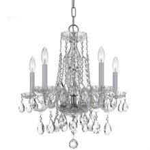 Traditional Crystal 5 Light Sw arovski Strass Crystal Chrome Mini Chandelier