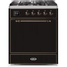 Majestic II 30 Inch Dual Fuel Liquid Propane Freestanding Range in Glossy Black with Bronze Trim
