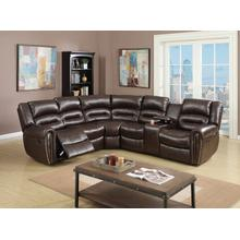 Esteve 3pc Reclining/Motion Home Theater Sofa Set, Brown Bonded Leather