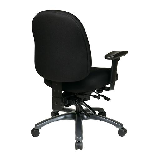 Office Star - Multi-function Mid Back Chair With Seat Slider and Titanium Finish Base