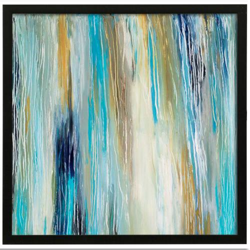 Style Craft - Ocean Tones I  Made in USA  Artist Print  Faux Wood Frame Under Glass  Attached Hanging Hardware