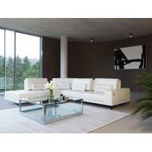 Accenti Italia Bellagio Italian Modern White Leather LAF Chaise Sectional Sofa