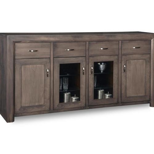 - Contempo Sideboard w/2 Wood Doors &2/Center Glass Door &4/Dwrs & 2/Wood & Glass Adjust.