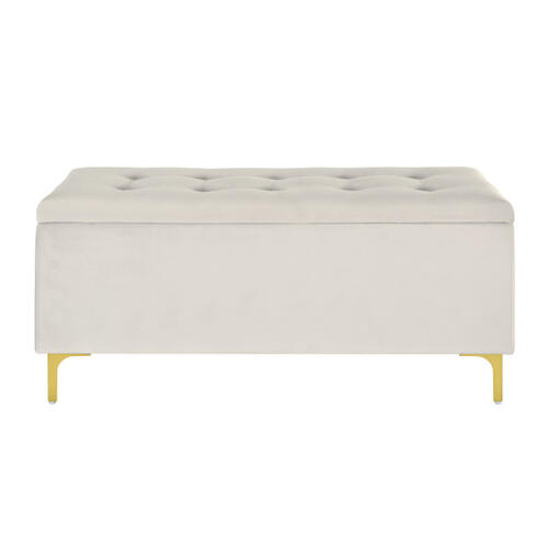 42 Inch Hinged Top Storage Bench w/ Grid-Tufted Seat in Ivory