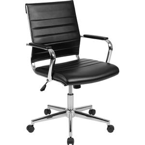 Gallery - Mid-Back Black LeatherSoft Contemporary Ribbed Executive Swivel Office Chair