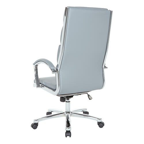 High Back Executive Grey Faux Leather Chair