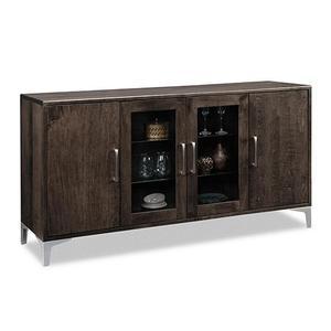 - Laguna Sideboard w/2 Wood Doors Outside, 2/Glass Doors Middle , 2/Wood & 2/Glass Adjust Shelves