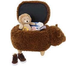 Critter Sitters 14-In. Seat Height Plush Brown Bear Animal Shape Ottoman - Furniture for Nursery, Bedroom, Playroom, and Living Room Decor, CSBR2OTT-BRN