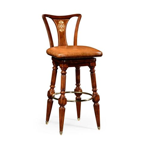 Walnut barstool side chair with brown leather