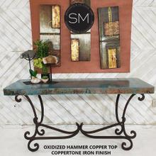 "Large Console- Sofa u0026Entry way table made of Hammered Copper - 59"" x 19"" / Natural Copper / Dark Rust Brown"