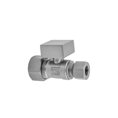 """Pewter - Quarter Turn Straight Pattern 5/8"""" O.D. Compression (Fits 1/2"""" Copper) x 3/8"""" O.D. Supply Valve with Square Handle"""