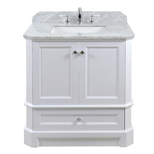 White RICHMOND 30-in Single-Basin Vanity with Carrara Stone Top Product Image