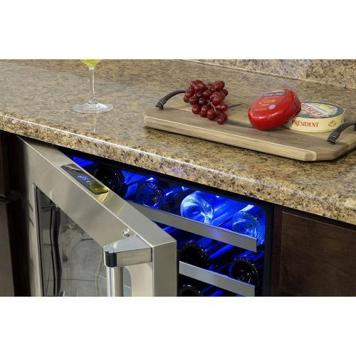 Marvel - 24-In Professional Built-In High Efficiency Single Zone Wine Refrigerator with Door Style - Stainless Steel Frame Glass, Door Swing - Left
