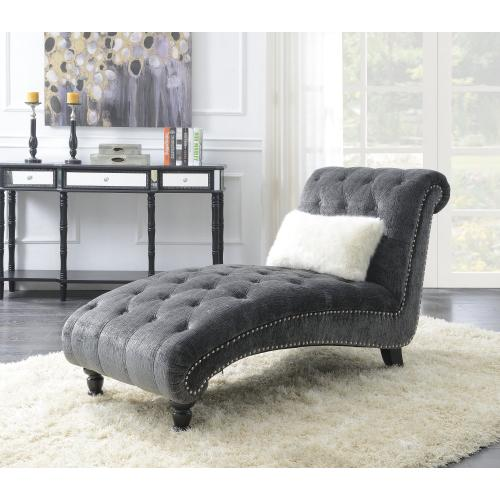 Hutton II Chaise Nailhead With 1 Pillow Charcoal