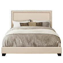 Upholstered King Bed with Nailhead Trim in Cream