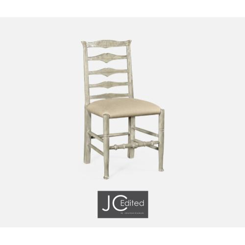 Rustic Grey Ladder Back Side Chair, Upholstered in MAZO