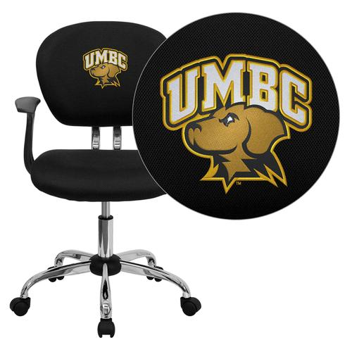 Maryland, Baltimore County Retrievers Embroidered Black Mesh Task Chair with Arms and Chrome Base